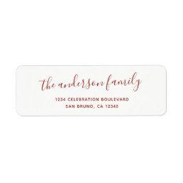 Elegant Script Family Name Holiday Return Address Label