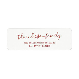 Elegant Script Family Name Holiday Return Address Label