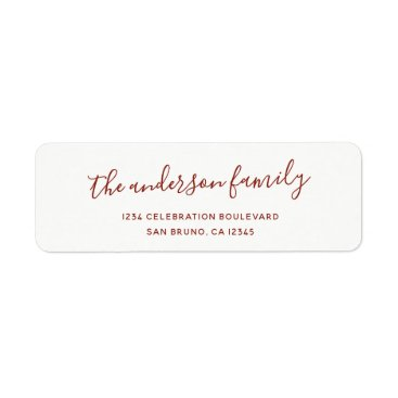 Cali_Graphics Elegant Script Family Name Holiday Return Address Label