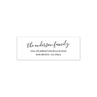 Elegant Script Family Name Holiday Return Address Self-inking Stamp