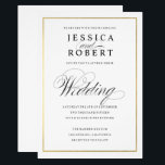 """Elegant Script Faux Gold Border Wedding Invitation<br><div class=""""desc"""">Classic understated black and white wedding invitation with a modern touch featuring the elegant script of the word &quot;Wedding&quot; and a gold border.   New version now available with solid gold border,  no gradient.</div>"""