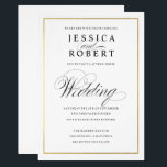 "Elegant Script Faux Gold Border Wedding Invitation<br><div class=""desc"">Classic understated black and white wedding invitation with a modern touch featuring the elegant script of the word &quot;Wedding&quot; and a gold border.   New version now available with solid gold border,  no gradient.</div>"