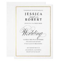 Elegant Script Faux Gold Border Wedding Invitation