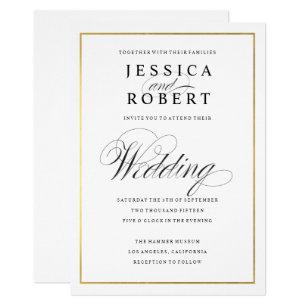 Gold wedding invitations zazzle elegant script faux gold border wedding invitation junglespirit Images