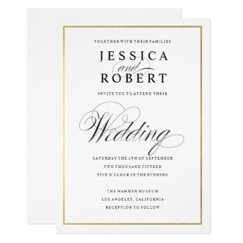 Elegant Script Faux Gold Border Wedding Invitation by beckynimoy at Zazzle