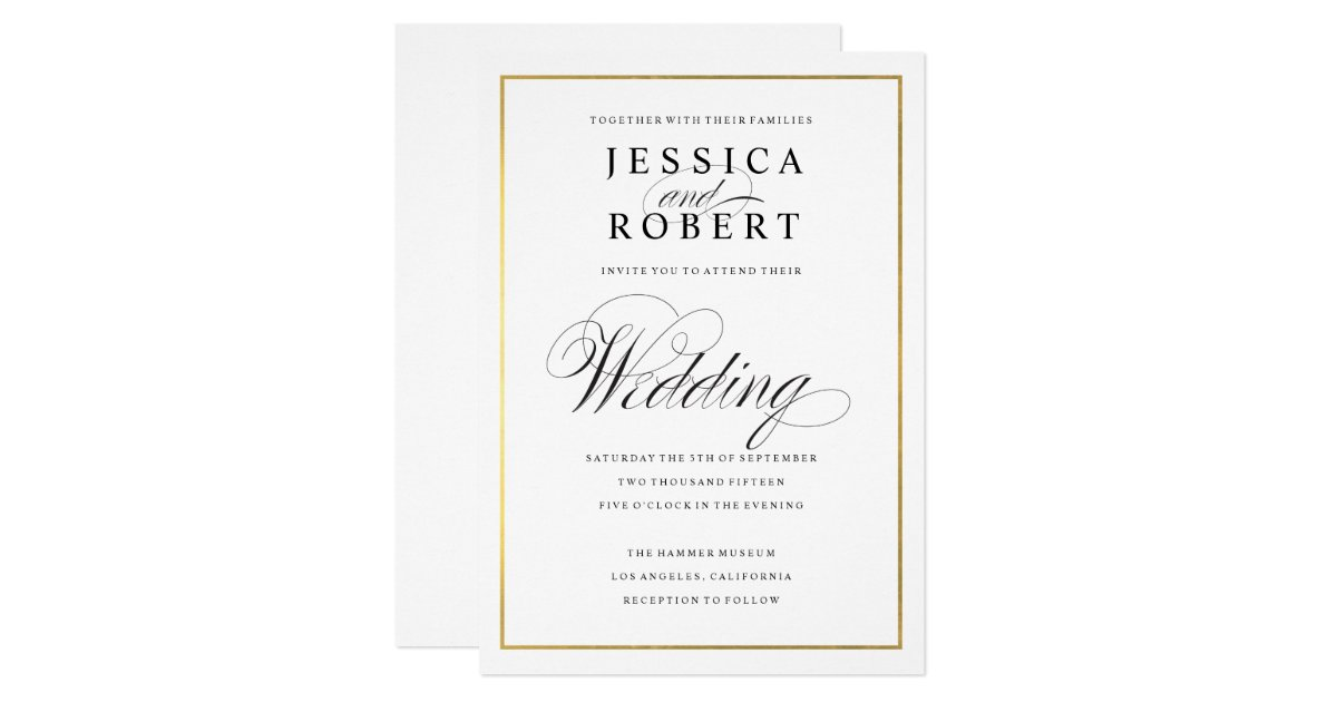 elegant script faux gold border wedding invitation - White And Gold Wedding Invitations