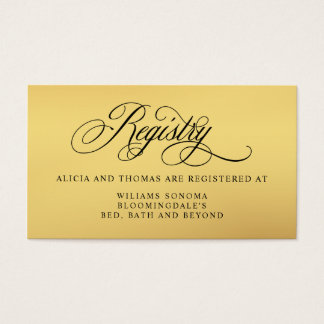 Elegant Script Flourishes Bridal Registry Business Card