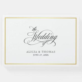 Elegant Script Flourishes Calligraphy Wedding Guest Book