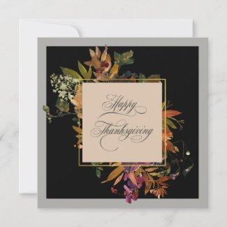 Elegant Script Flourishes Fall Floral Thanksgiving Holiday Card