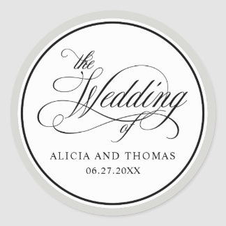 Elegant Script Flourishes RSVP with Any Color Classic Round Sticker