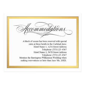Elegant Script Flourishes Wedding Accommodations Postcard