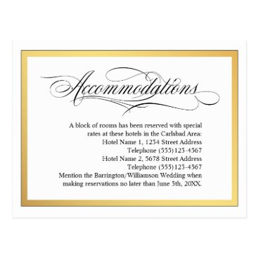 oasis_landing Elegant Script Flourishes Wedding Accommodations Postcard