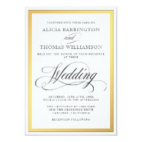 Elegant Script Flourishes Wedding Card