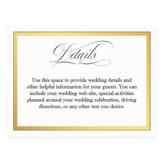 Elegant Script Flourishes Wedding Details Postcard