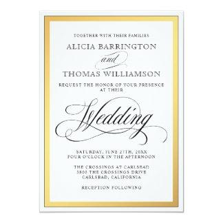 Elegant Script Flourishes Wedding Invitation