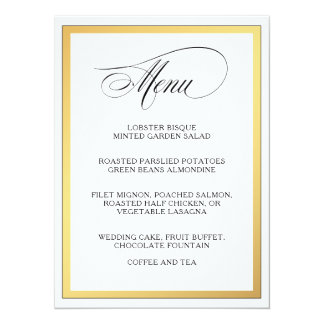 Elegant Script Flourishes Wedding Menu Card
