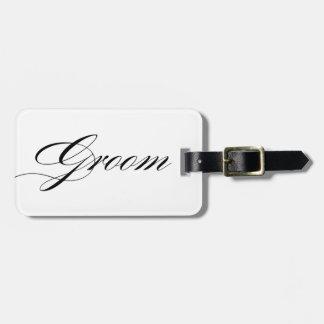 Elegant script font groom luggage tag honeymoon