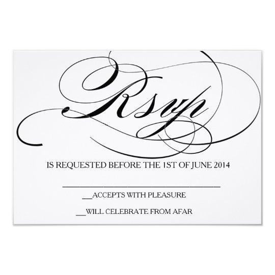 Elegant Script Font RSVP Card Wedding Invitation