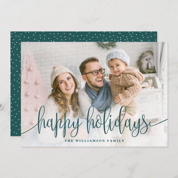 Photo Hy Holidays Green Holiday Card