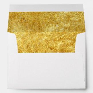 Elegant Script Gold Lined Wedding Return Address Envelope