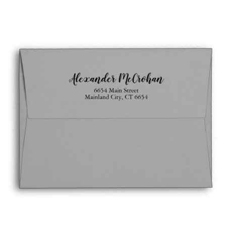 Elegant Script Gray Return Address Mailing Envelope
