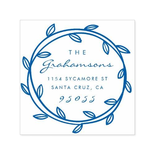 Elegant Script  Hand_drawn Wreath Return Address Self_inking Stamp