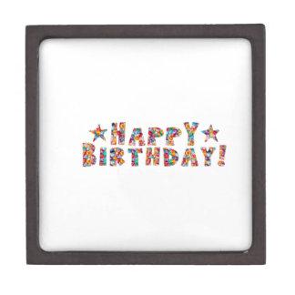 Elegant script HAPPY BIRTHDAY Premium Keepsake Boxes