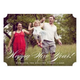 Elegant Script | Happy New Year Photo Flat Card