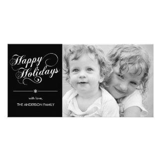 Elegant Script Holiday Photocard - Black Card