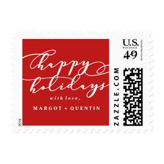 Elegant Script Holiday Postage Stamp