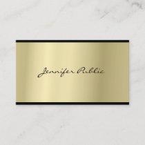 Elegant Script Modern Sleek Glam Gold Look Top Business Card