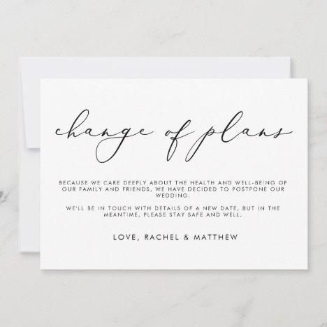 Elegant Script Monochrome Change of Plans Wedding Announcement