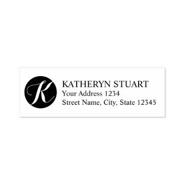 Professional Business Elegant Script Monogram Return Address Self-inking Stamp