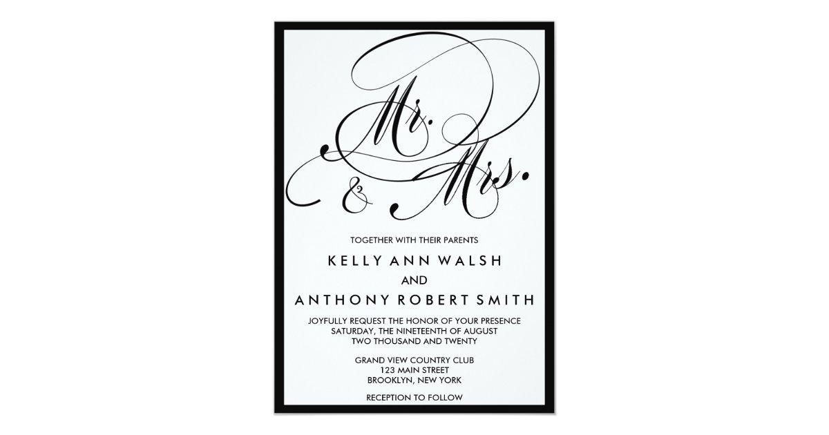 Mr And Mrs Wedding Invitation Wording: Elegant Script Mr. And Mrs. Wedding Invitation