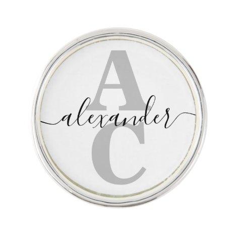 Elegant Script Name Custom Monogram Initial Lapel Pin