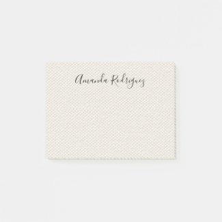 Elegant Script Name on Beige Faux Canvas Texture Post-it Notes