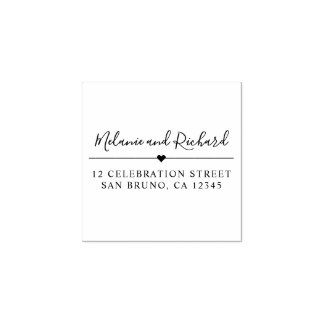 Elegant Script Names & Modern Heart Return Address Rubber Stamp