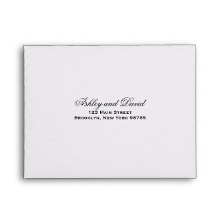 Elegant Script Note Card Return Address Envelope