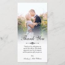 Elegant Script Overlay Wedding Photo Thank You