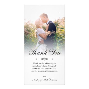 Paperpaperpaper Elegant Script Overlay Wedding Photo Thank You Card