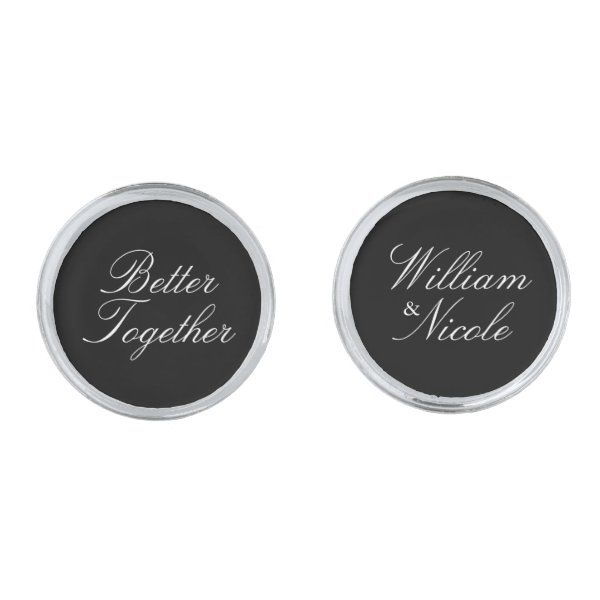 Elegant Script Personalized Groom Silver Cufflinks