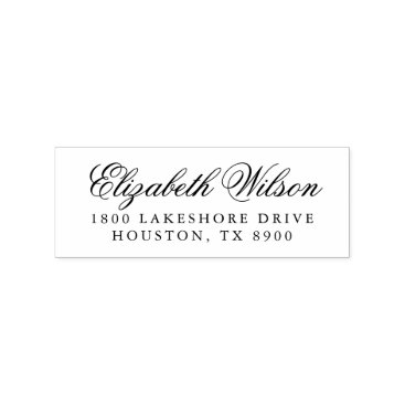 Wedding Themed Elegant Script Personalized Return Address Stamp