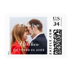 Elegant Script | Photo Save The Date Stamp at Zazzle