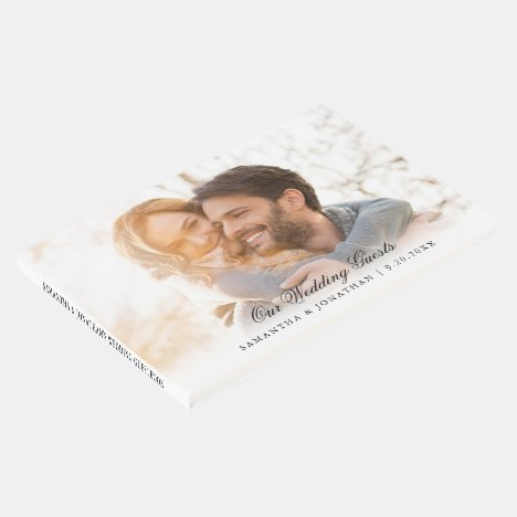 Elegant Script Photo Wedding Guest Book