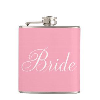 Elegant Script Pink Bride Flask