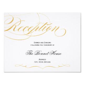 Elegant Script Reception Card - Gold & Black