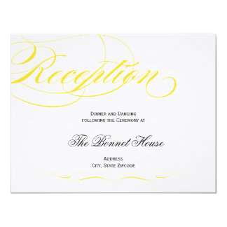 Elegant Script Reception Card - Yellow