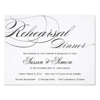 Elegant Script Rehearsal Dinner Invitation - Black