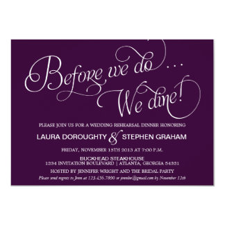"Elegant Script Rehearsal Dinner Invitation Purple 4.5"" X 6.25"" Invitation Card"