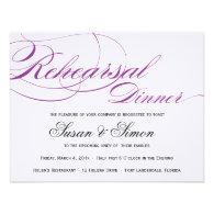 Elegant Script Rehearsal Dinner Invitation Purple
